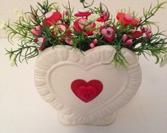 Vintage Valentine Button Bouquet/Red Heart- Country Home Decor,Shabby Cottage Chic