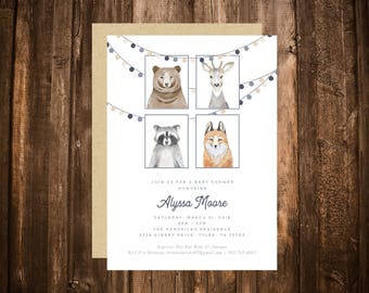 Forest Friends Woodland Baby Shower Invitation; Critters; Animals; Boy; Dusty Blue; Printable or set of 10
