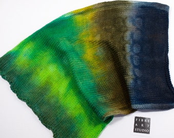 Sock Blank | 100g 400yds | 75/25 Superwash Wool / Nylon | Hand Painted in Green, Brown, Navy | Double Strand