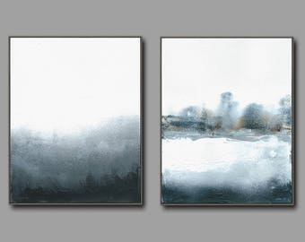 pair of Contemporary abstract textured minimalist palette knife  paintings.