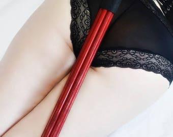 Red Enamel Mother F'er - Multi Cane for Spanking Enthusiasts - BDSM Spanking Paddle / Cane