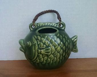 Vintage Ceramic Wall Pocket Fish