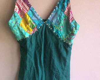Patchwork and sequin cami