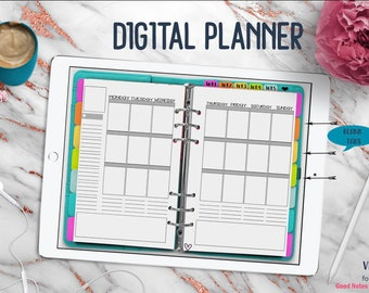 Aqua Vertical Digital Planner | Digital Planner for Goodnotes with Working Tabs