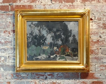 George Kennedy Brandriff -Houses in Eucalyptus Landscape- California Impressionist-Oil Painting