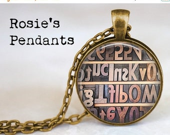 Antique Printing Press Letters Pendant Necklace