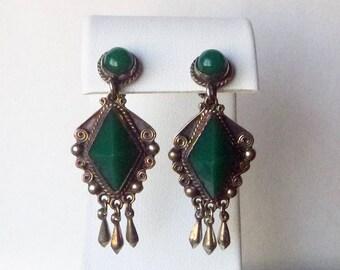 Sterling Silver Mexico green onyx stone art deco retro drop earrings non-pierced screw backs