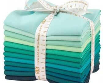 Anniversary Sale Kaufman Fat Quarter Bundle Kona 12 Piece Cotton Lush Lagoon Fabric~Fast Shipping FQ262