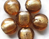 RESERVED FOR REBECCA - 6 Pc Golden Brown Glass Beads 15mm x 9mm Lentil Murano Style Lampwork | Brown Beads | Beads for Jewelry Making