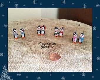 Penguin Earrings in polymer paste-Fimo