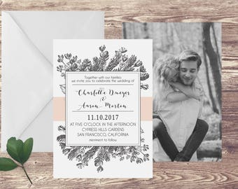The San Francisco Wedding Invitation and RSVP Set, Floral Wedding Invitations, Wedding Invitation with Photograph, Spring Wedding Invitation
