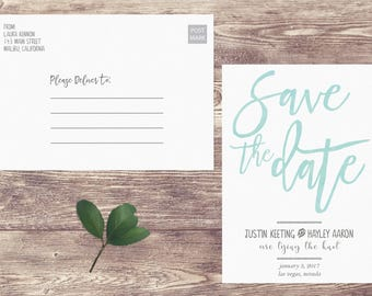 Watercolor Save The Date Postcard, Postcard Save the Date, Non-Photograph Save the Date, Custom Personalized, Engagement Announcement Card