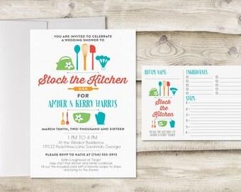 Stock the Kitchen Bridal Shower Invitation with Recipe Card, Couples Kitchen Shower Invitation, Invitation for Kitchen Bridal Shower