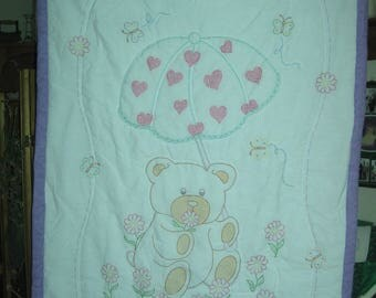 Hand embroidered, hand quilted and hand sewn Baby Quilt