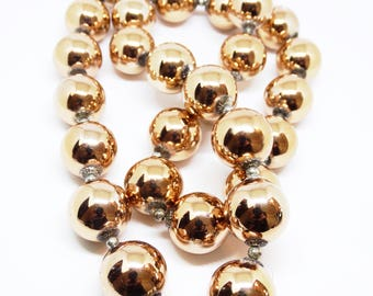 1960s Miriam Haskell Necklace Large Mirrored Copper Bead Necklace