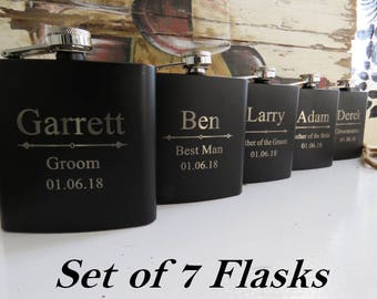 Personalized Groomsmen Gift, 7 Engraved Flasks, Groomsmen Flasks, Wedding Party Gift Flasks, Personalized Flask, Best Man Gift, Custom Flask