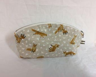 Fox/ Large Petal pouch /zipper pouch/makeup bag/ pencil pouch