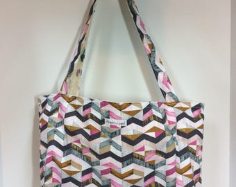 Chevron -mushroom- large reversible and reusable shopping bag