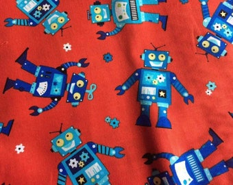 Robots by Benartex Blue Sky Studio, red cotton, children's fabric, remnant piece only.