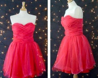Vintage 80s Prom Dress, Hot Pink Tulle Dress, 80s Strapless Dress, Knee Length Party Dress, Crinoline Adult Prom Dress, Cyndi Lauper Dress