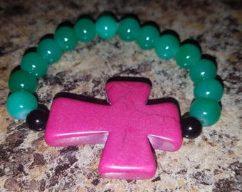 Turquoise beaded pink cross bracelet