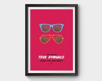 True Romance - A3 movie poster, film poster, minimalist movie poster, typography, true romance poster, film poster, tarantino, minimal print