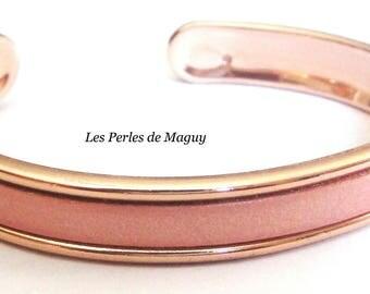 Powder Pink Ribbon leather Bangle Bracelet