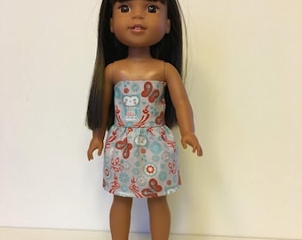 """SUMMER SALE CLEARANCE Rustic Owls sleeveless dress handmade for 14.5"""" dolls, fits Wellie Wishers"""
