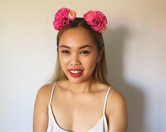 Pink 'ASAMI' Dahlia and Rose floral headpiece/headband