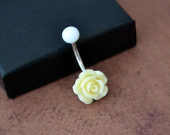 Little Yellow Flower Belly Button Ring, Rose Belly Button Ring, Short Navel Ring, Surgical Steel 14G 14gauge Belly Barbell