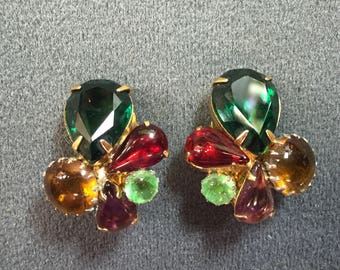 Colorful Vintage Rhinestone Clip Earrings- Free shipping