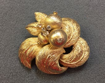 Unusual Older Signed Coro Gold Tone and Rhinestone Brooch. Free shipping