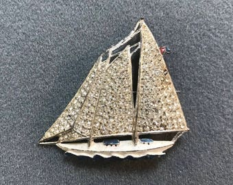 Vintage Pot Metal Rhinestone Hand-painted Sailboat Brooch . Free shipping.