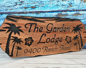 Custom Outdoor wooden Signs, beach theme, Palm trees,  hibiscus flower, Marina Signs, Custom Carved Signs, Palm trees, Beach House