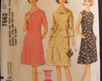 41% OFF Flared Dress 1964 Mid Century McCall's Sewing Pattern 7662 Size 12 14 Bust 32 34
