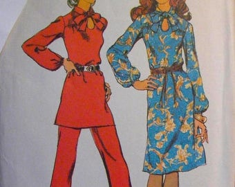 """41% OFF Dress / Tunic / Pants 1970's Vintage Simplicity Sewing Pattern 9604 Misses' Size 14 Bust 36"""""""