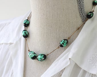 Vintage Necklace with Green Glass Beads and Long Brass Links, 1930s Necklace, Unusual Green and Black Beads, Short Necklace,  Beaded Necklet
