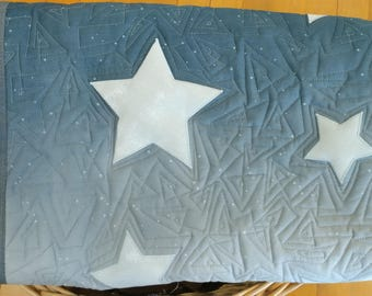 Moon and Stars Baby Quilt, Modern Baby Quilt, Handmade Baby Quilt, Space Nursery, Nursery Decor, Crib Bedding, Custom Baby Blanket with Name