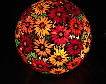 To order. Lamp ball mosaic stained glass in warm tones. Sold.