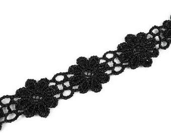 Lace trim black floral lace of Venice 20 mm