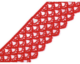 Large 6 cm red guipure lace