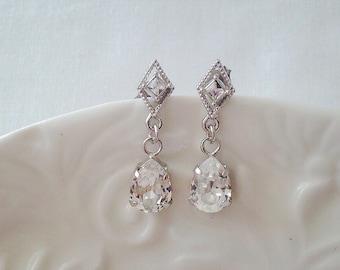 Small silver diamond crystal earrings with swarovski crystal drops