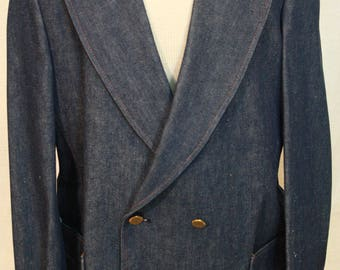 Vtg Denim Double Breasted blazer brass colored buttons, SedgeField brand tag reads 44R stamped Irregular