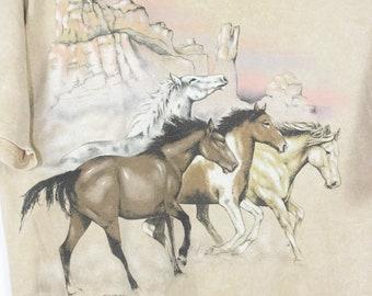 vintage wild horses desert sunset t shirt 1994