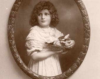 C005 - Vintage postcard used but unposted. EA Schwerdtfeger. Young girl. Birthday