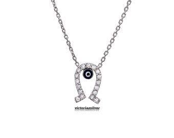 925 Sterling Silver Horse Shoe Evil Eye Necklace,Silver Evil Eye Necklace, Evil Eye Charm Necklace