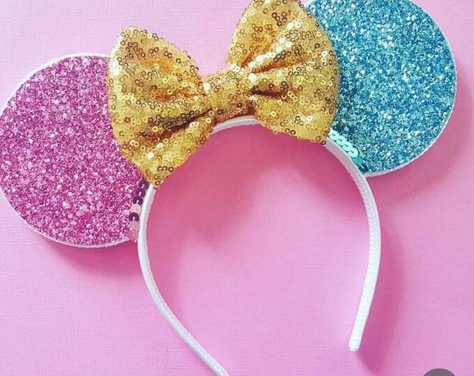 Sleeping Beauty Mouse Ears Headband | Minnie Mouse Birthday | Mickey Headband Ears | Snow White Mouse Ears| Make it Pink | Make it Blue