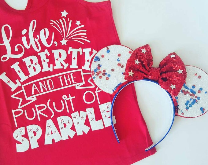 Patriotic Mickey Ears | Glow in the Dark Mouse Ears || Fourth of July || Minnie Mouse Ears || Sparkle Mouse Ears || Confetti Mouse Ears
