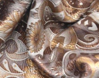 "Fashion Paisley & Posies Light Brown On White Leather Cow Hide 12"" x 12"" Pre-cut 2 1/2 oz BR-62963 (Sec. 6,Shelf 3,C)"