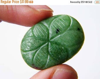 80% Sale Ruby Zoisite Carved Cabochon, (31x22x7MM) Ruby In Zoisite Flower Carved Cabochon, 53Ct Flower Carved Designer Cabochon S-10528